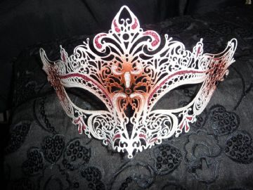 Venetian Style White & Red Metal Filigree  lace Mask